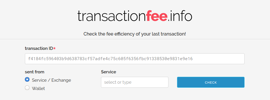 Header and input field for the old transactionfee.info site